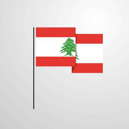 Lebanon waving Flag design vector Illustration
