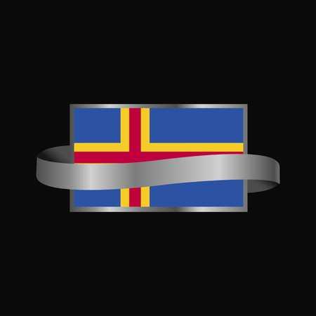 Diseño de banner de cinta de bandera de aland