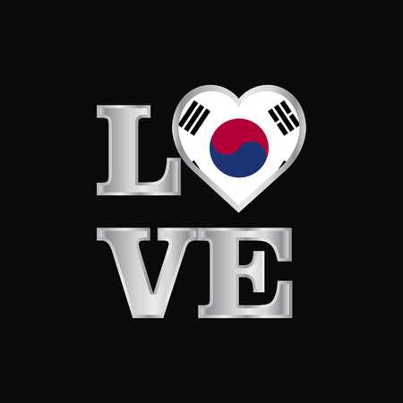 Love typography Korea South flag design vector beautiful lettering