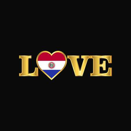 Golden Love typography Paraguay flag design vector