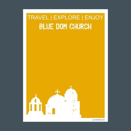 Blue Dom Church, Slovakia monument landmark brochure Flat style and typography vector Ilustração