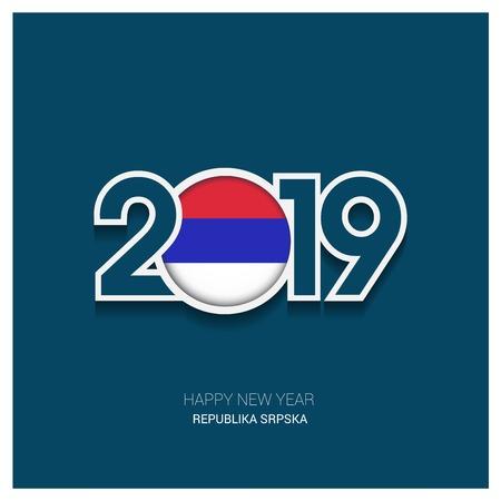 2019 Republika Srpska Typography, Happy New Year Background