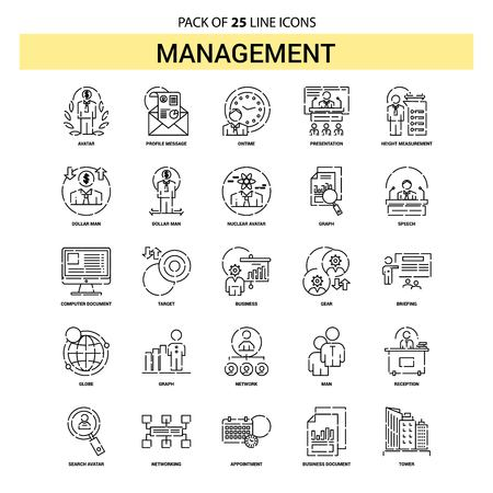 Management Line Icon Set - 25 Dashed Outline Style