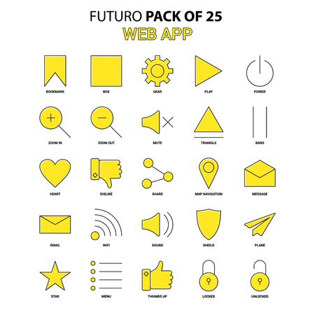 Web App Icon Set. Yellow Futuro Latest Design icon Pack