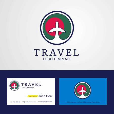 Travel Bangladesh Creative Circle flag Logo and Business card design