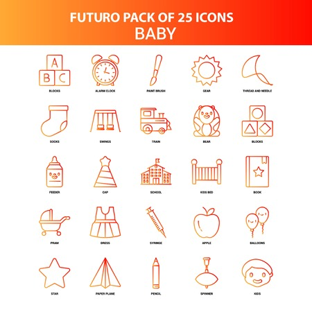 Orange Futuro 25 Baby Icon Set