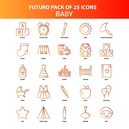 Orange Futuro 25 Baby Icon Set