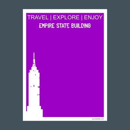 Empire State Building NY , USA monument landmark brochure Flat style and typography vector Illustration
