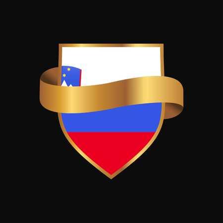 Slovenia flag Golden badge design vector