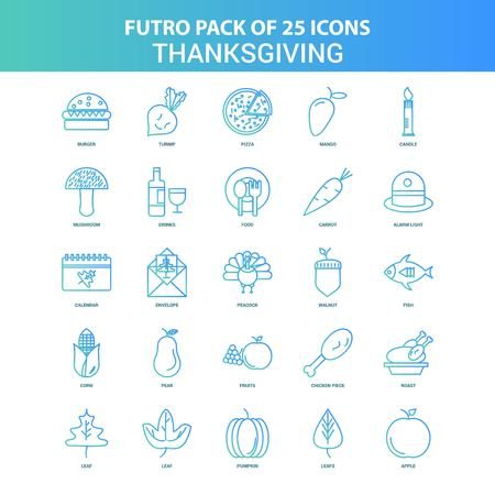 25 Green and Blue Futuro Thanksgiving  Icon Pack Illustration