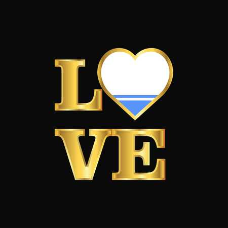 Love typography Altai Republic flag design vector Gold lettering