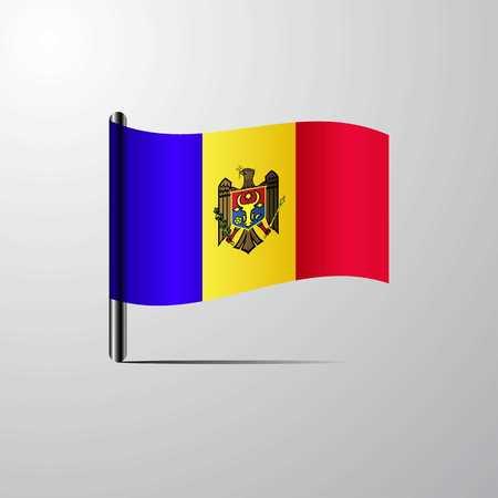 Moldova waving Shiny Flag design vector Vektorové ilustrace