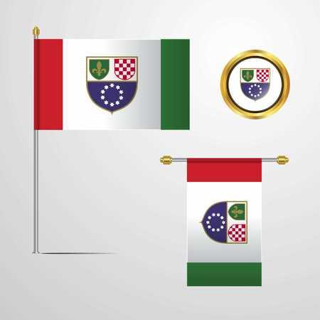 Bosnia and Herzegovina flag Illustration