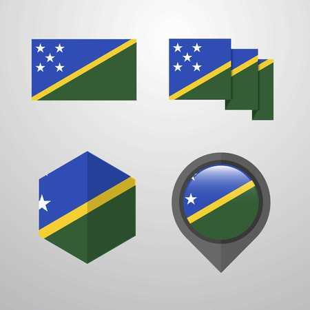 Solomon Islands flag design set vector
