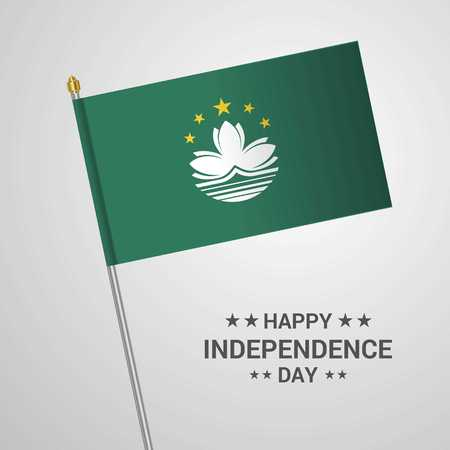Macau Independence day typographic design with flag vector