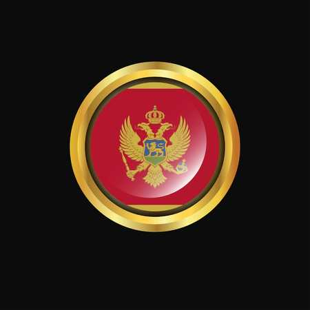 Montenegro flag Golden button