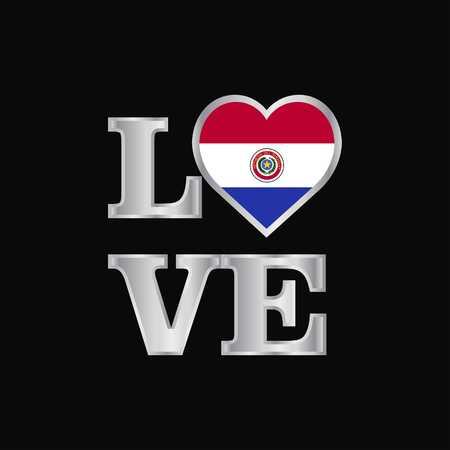 Love typography Paraguay flag design vector beautiful lettering
