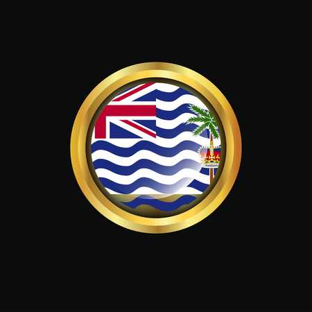 British Indian Ocean Territory flag Golden button
