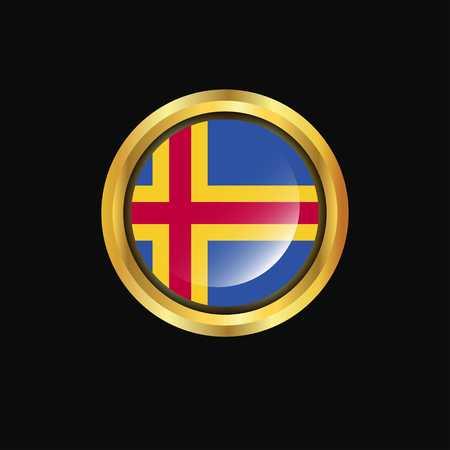 Botón de oro de la bandera de Aland Ilustración de vector