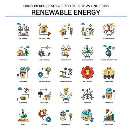 Renewable Energy Flat Line Icon Set - Business Concept Icons Design Standard-Bild - 111328014
