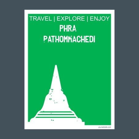 Phra Pathommachedi Nakhon Pathom, Thailand monument landmark brochure Flat style and typography vector 向量圖像