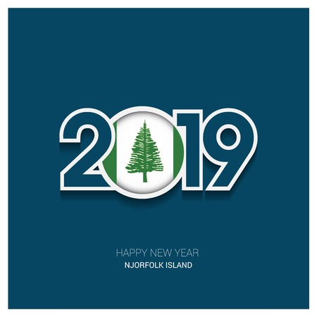 2019 NJorfolk Island Typography, Happy New Year Background