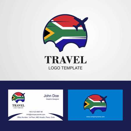 Travel South Africa Flag Logo and Visiting Card Design Illustration