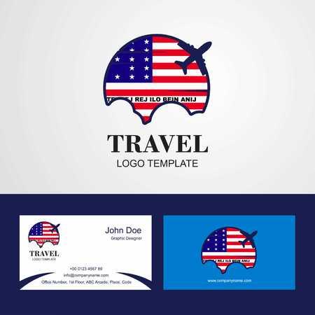 Travel Bikini Atoll Flag Logo and Visiting Card Design Stock Illustratie