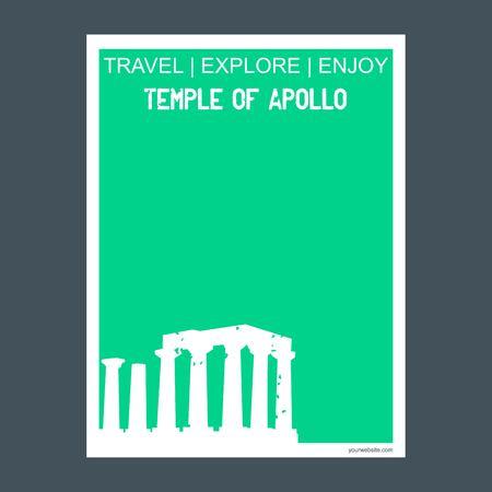 Temple of Apollo Attica, Greece. monument landmark brochure Flat style and typography vector