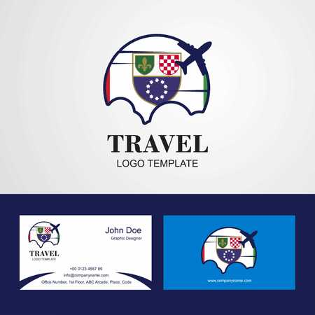 Travel Bosnia and Herzegovina Flag Logo and Visiting Card Design