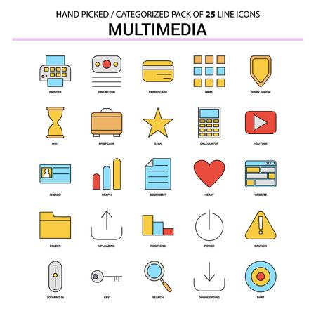 Multimedia Flat Line Icon Set - Business Concept Icons Design Stok Fotoğraf - 111196124