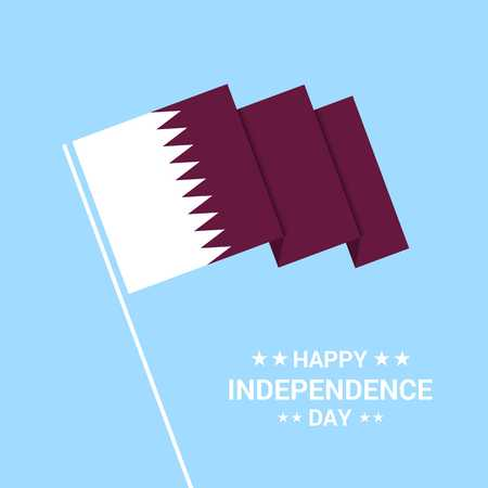 Qatar Independence day typographic design with flag vector Illustration