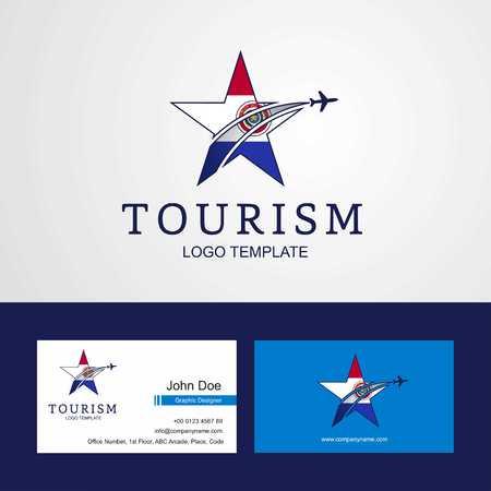 Travel Paraguay flag Creative Star Logo and Business card design Illustration