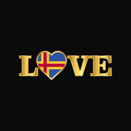 Golden Love typography Aland flag design vector