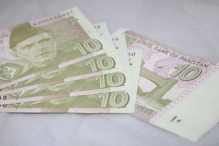 10 rupees Pakistani currency note Stock fotó
