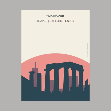 Temple of Apollo Attica, Greece. Vintage Style Landmark Poster Template