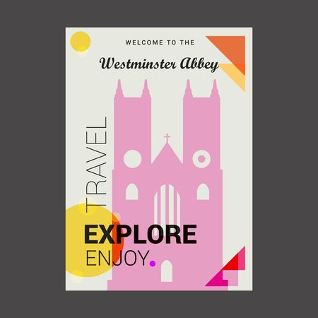 Welcome to The Westminster Abbey London , UK Explore, Travel Enjoy Poster Template Illustration
