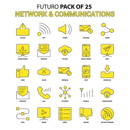 Network and Communication Icon Set. Yellow Futuro Latest Design icon Pack