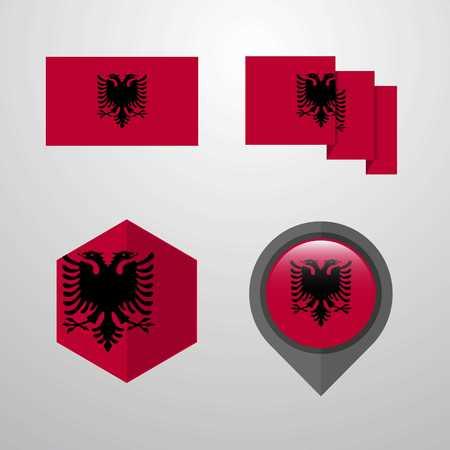 Albania flag design set vector Vektorové ilustrace