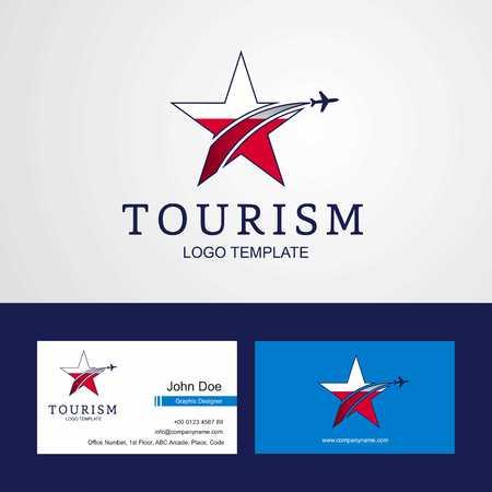 Travel Poland flag Creative Star Logo and Business card design
