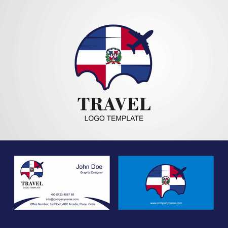 Travel Dominican Republic Flag Logo and Visiting Card Design