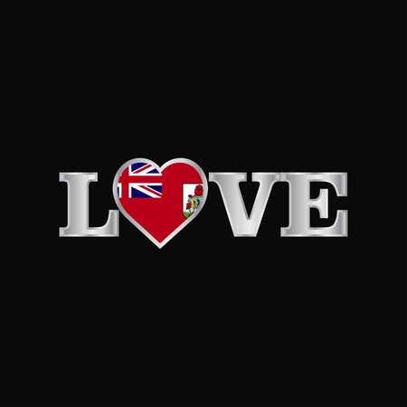 Love typography with Bermuda flag design vector Ilustração