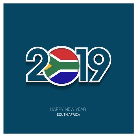 2019 South Africa Typography, Happy New Year Background Illustration