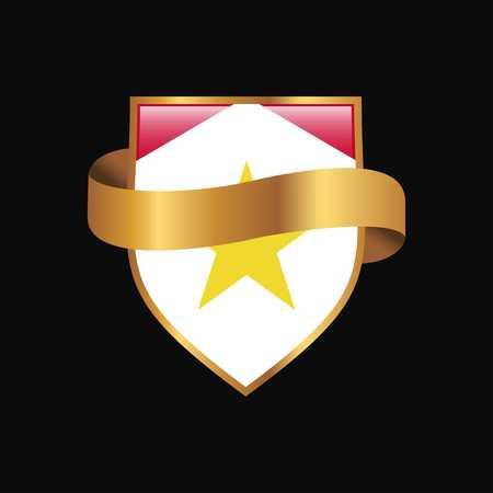 saba flag Golden badge design vector Illustration
