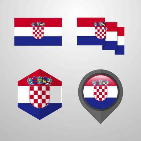 Croatia flag design set vector