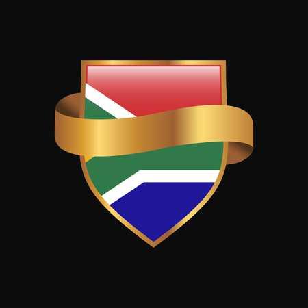 South Africa flag Golden badge design vector
