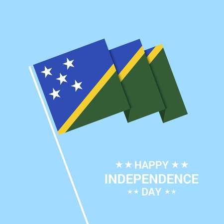 Solomon Islands Independence day typographic design with flag vector