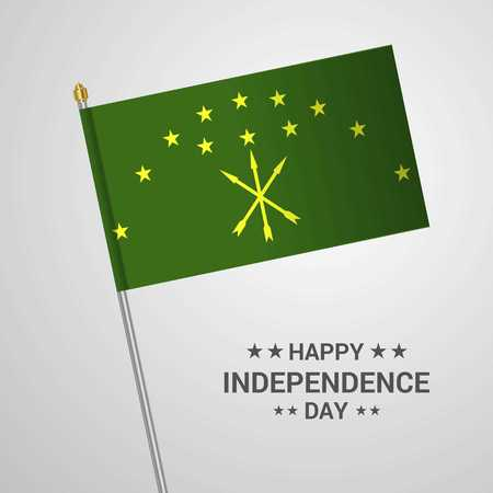 Adygea Independence day typographic design with flag vector