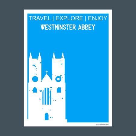 Westminster Abbey London , UK monument landmark brochure Flat style and typography vector Векторная Иллюстрация