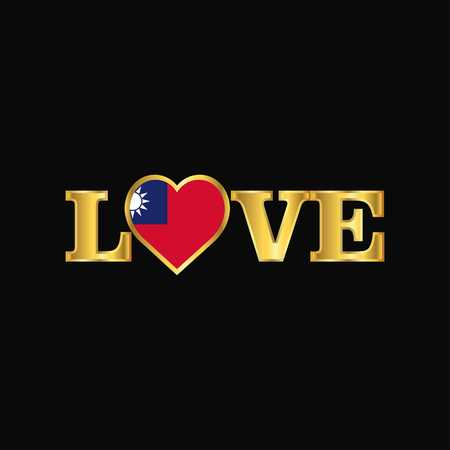Golden Love typography Taiwan flag design vector